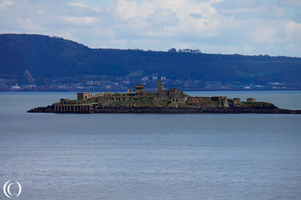 The Fortified Island of Inchmickery seen from Cramond Island