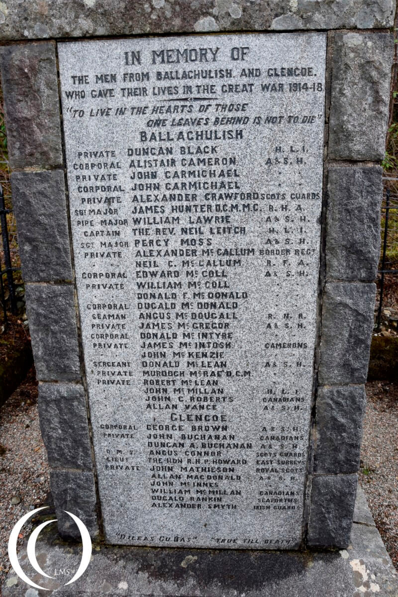 Names of the fallen soldiers from Ballachulish & Glencoe on the Memorial