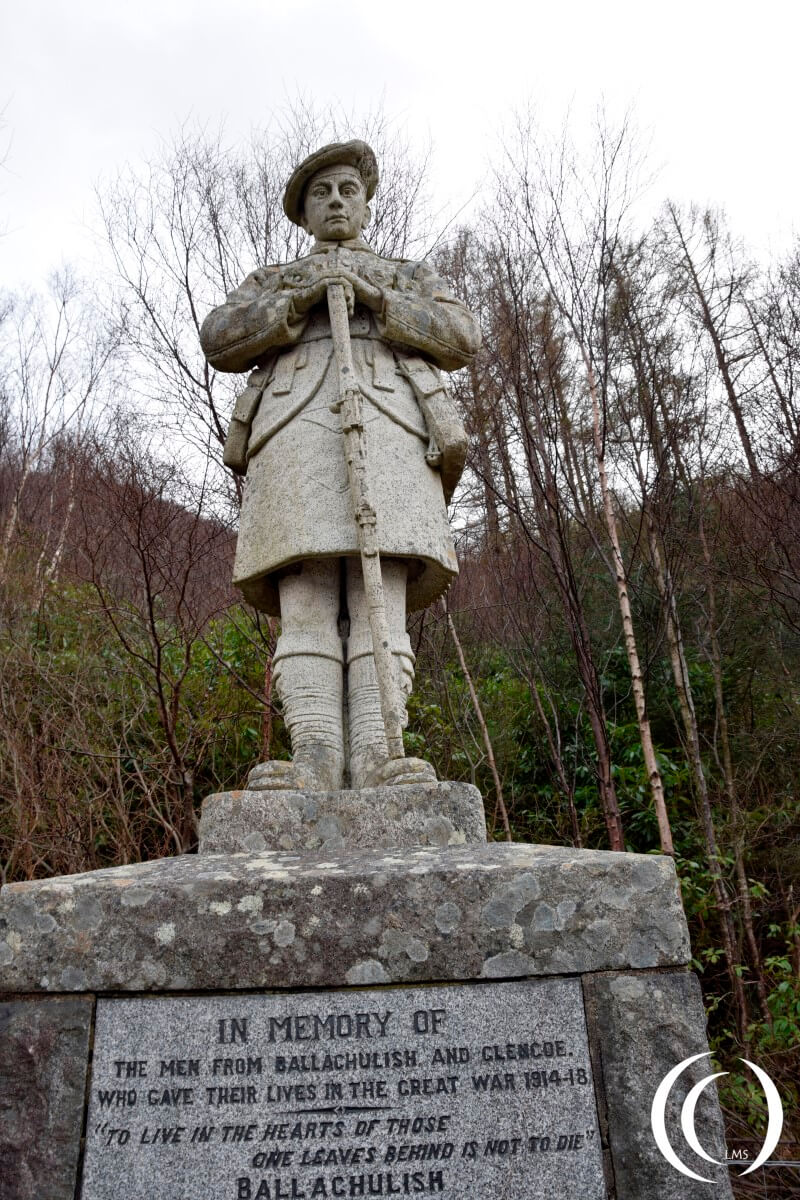 World War One memorial Glencoe view on the statue