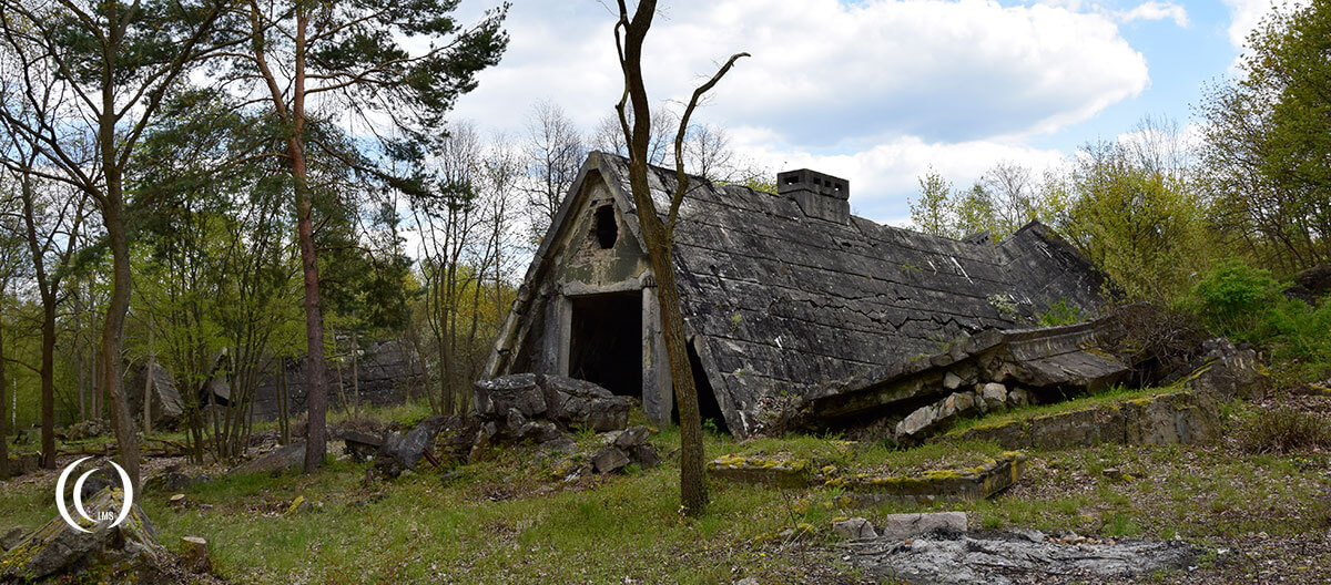 Remains of a bunker disguised as house at Maybach I Zossen