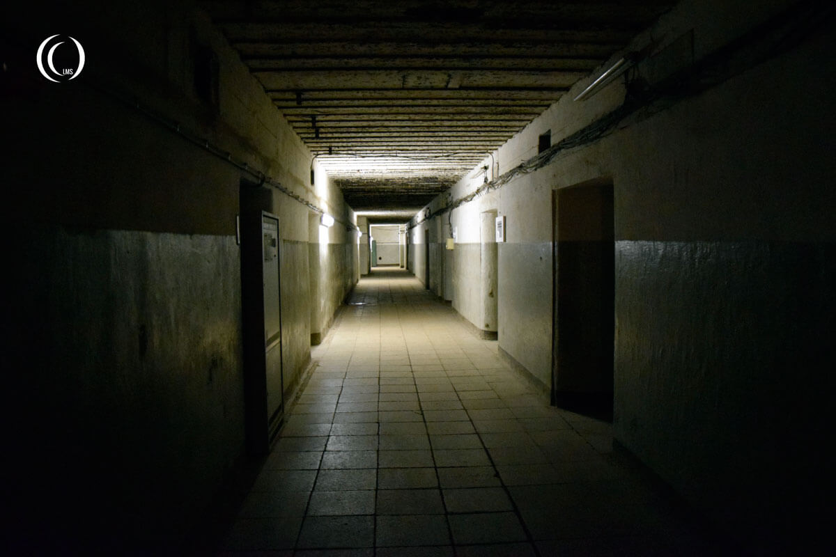 A view down a corridor inside the Zeppelin communications bunker at Zossen Wunsdorf