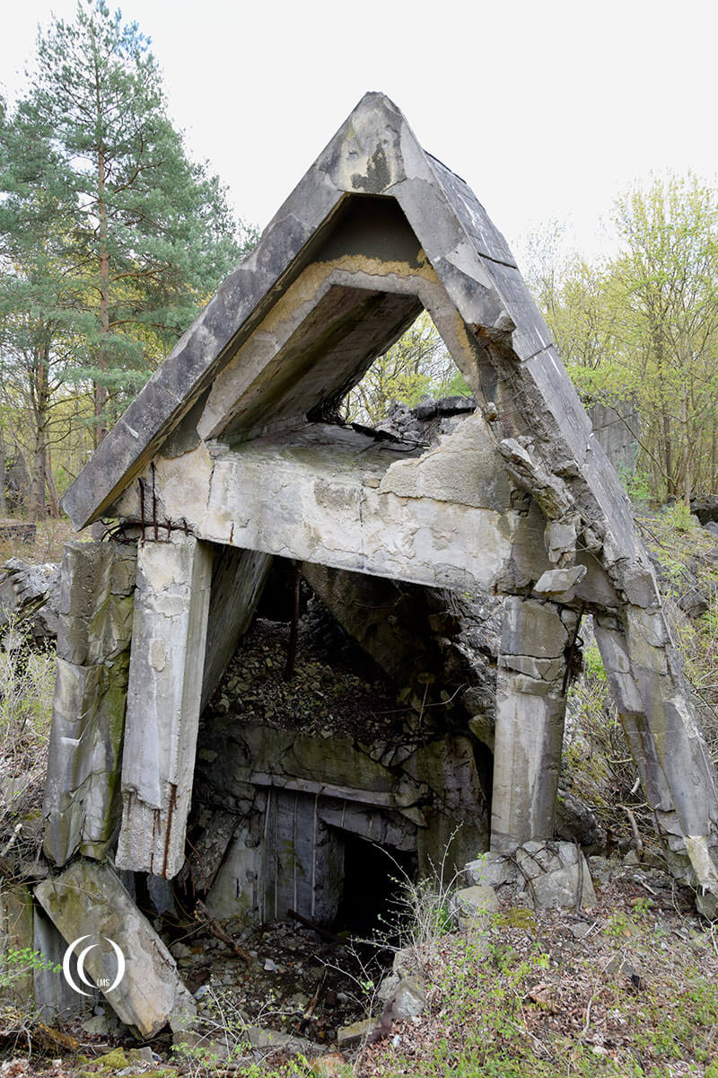 Collapsed bunker structure at Wunsdorf-Zossen Germany