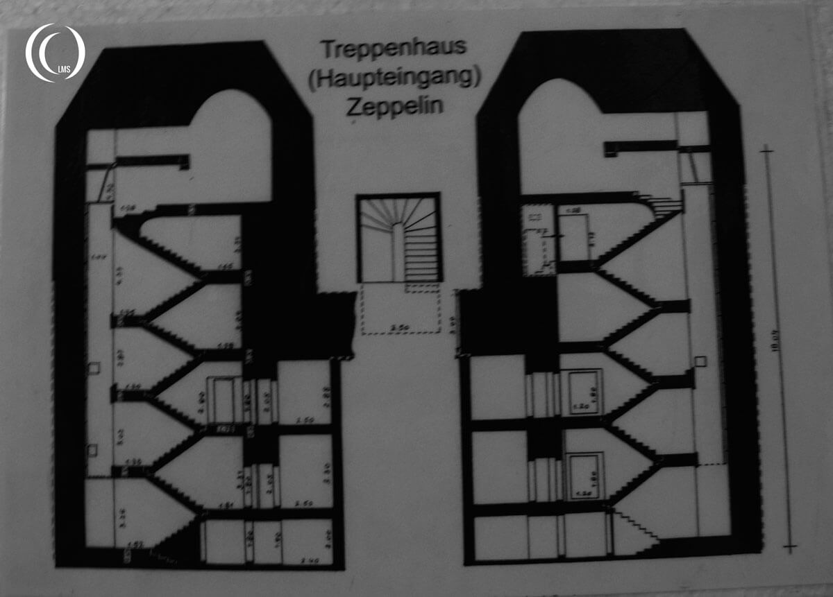 Plan of the Reichspostgebaude entrance staircase to the Zeppelin bunker Zossen