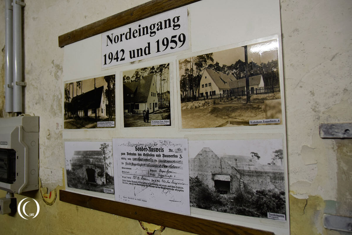 Pictures of the former entrance buildings camouflaged as houses