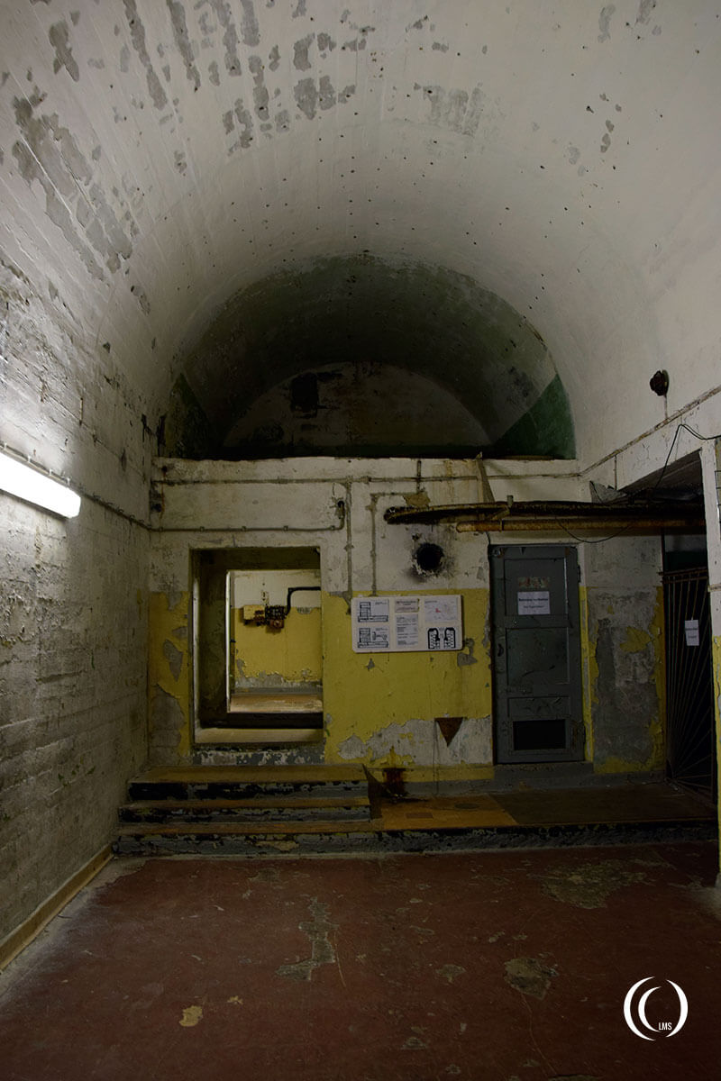 Inside the Reichspost-Gebäude entrance above the Zeppelin bunker at Wunsdorf-Zossen