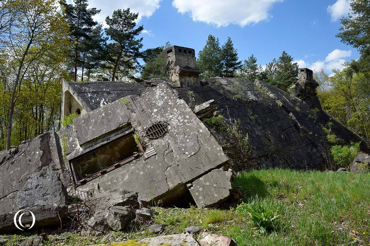 Collapsed bunker houses at Maybach I Wunsdorf-Zossen Germany