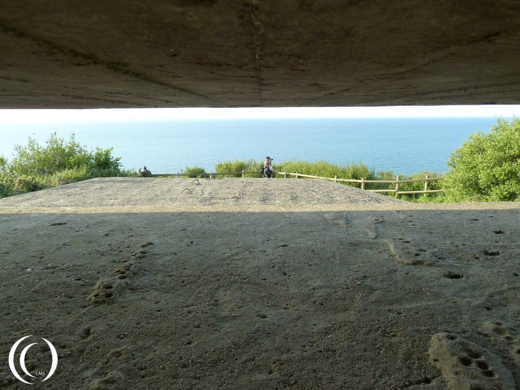 a view from the Fire control bunker of Batterie Longues-sur-Mere