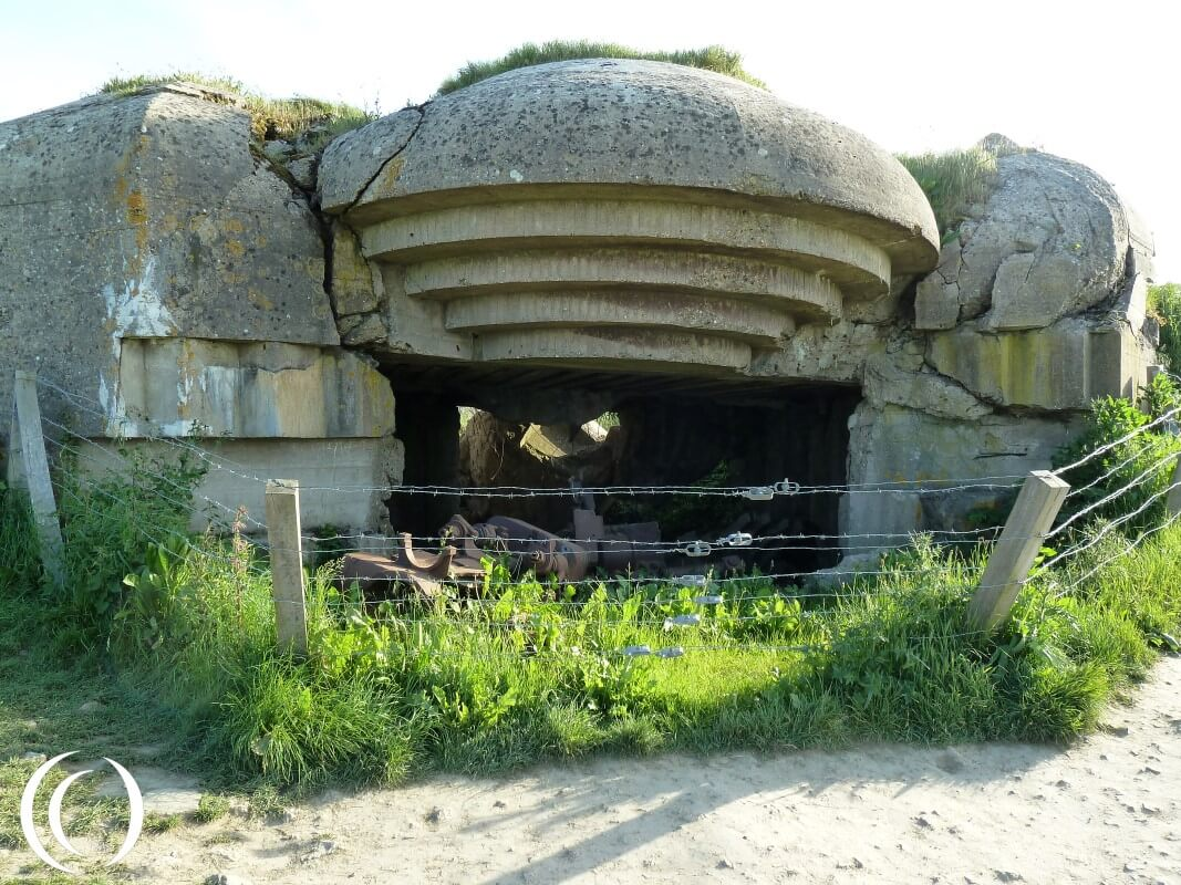 Exploded gun emplacement at Battery Longues-sur-Mer