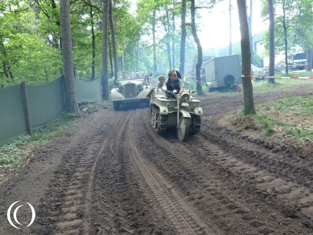 Sd. Kfz. 2 Kleines Kettenkraftrad followed by a Stoewer 40 Jeep - Militracks, Overloon - Netherlands