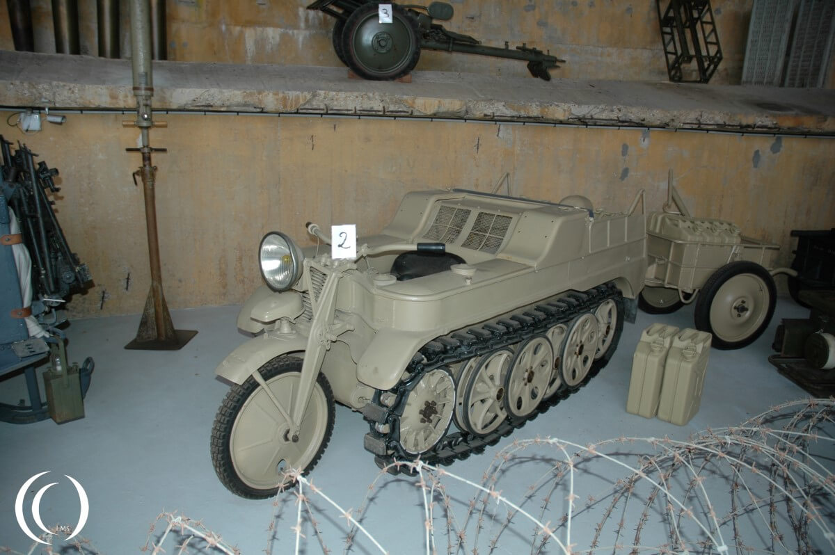 Sd. Kfz. 2 Kleines Kettenkraftrad with Infantry cart If. 8, in Museum Battery Todt - France
