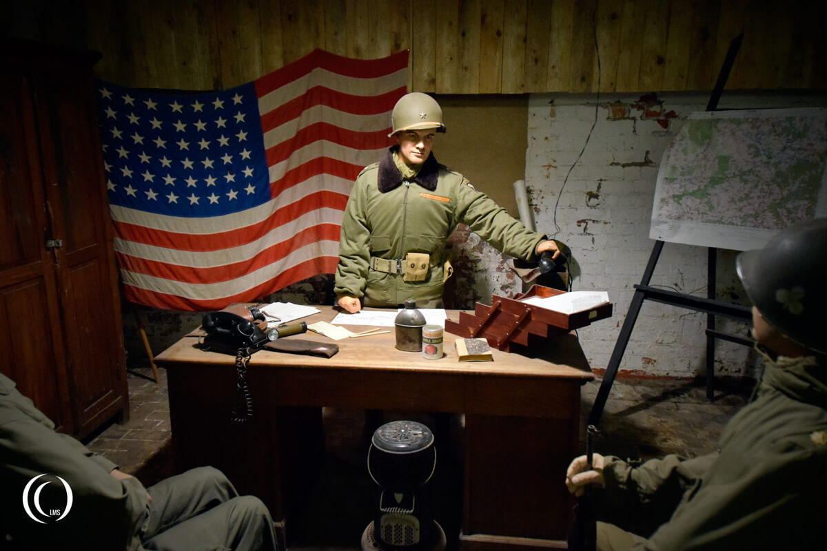 Diorama of Brigadier General Anthony McAuliffe in his Bastogne headquarters at Bastogne Barracks