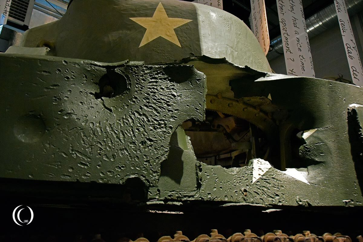 Bastogne War Museum Multiple impacts on Sherman tank
