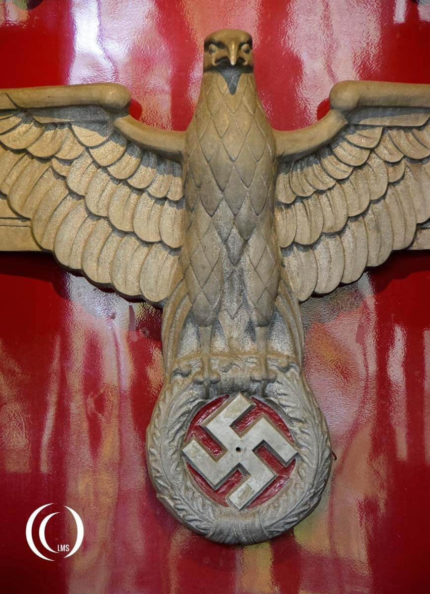 Front view of Eagle and swastika on the E19 01 at Technisches Museum Berlin