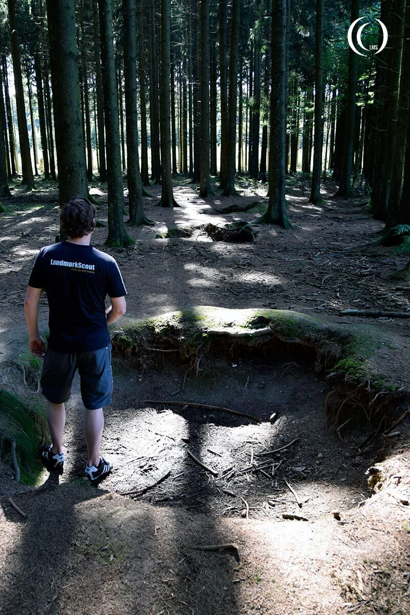 Line of foxholes of Easy Company in Jacks Forrest