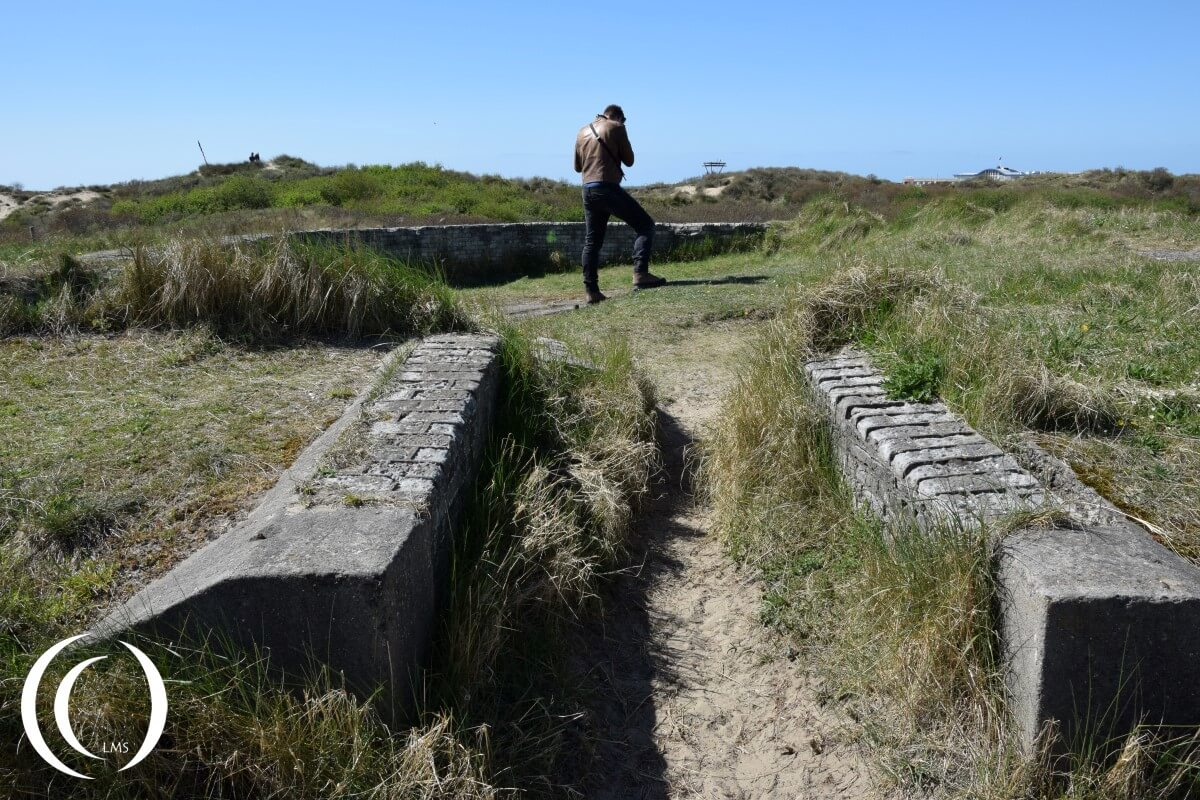 Pascal at the open gun emplacement - Festung IJmuiden