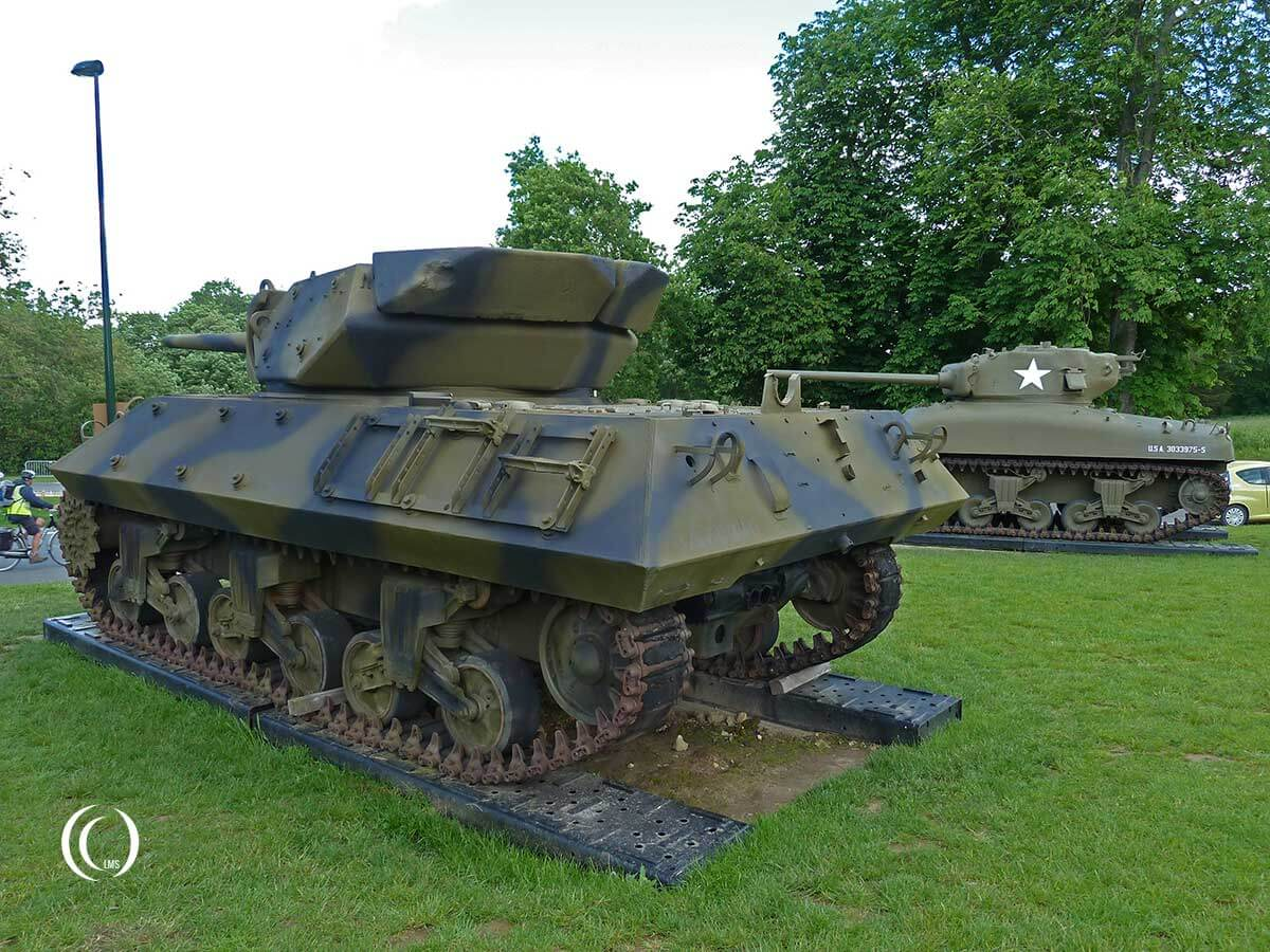 M10 Wolverine Tank Destroyer and a M4A1 Sherman tank