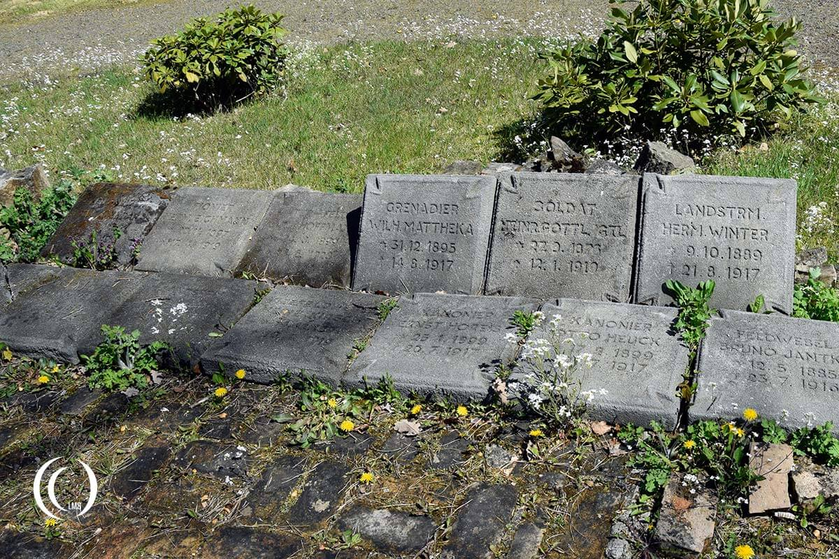 WWI headstones of German fallen collected