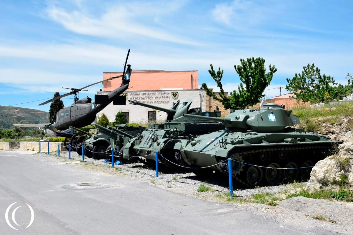 Vehicles in front of the Military Museum of Chromonastiri