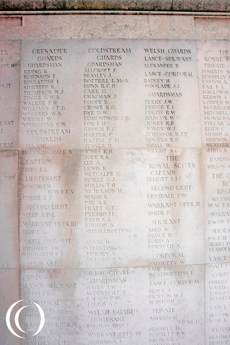 Dunkirk Memorial with names off fallen Coldstream Guards