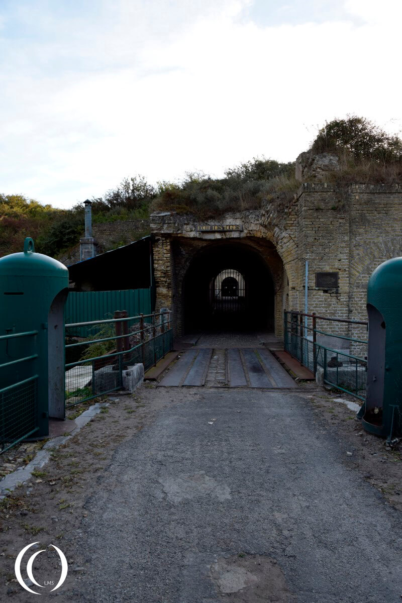 Entrance to Fort Des Dunes - After the battle Fort des Dunes was integrated in the Atlantic Wall.