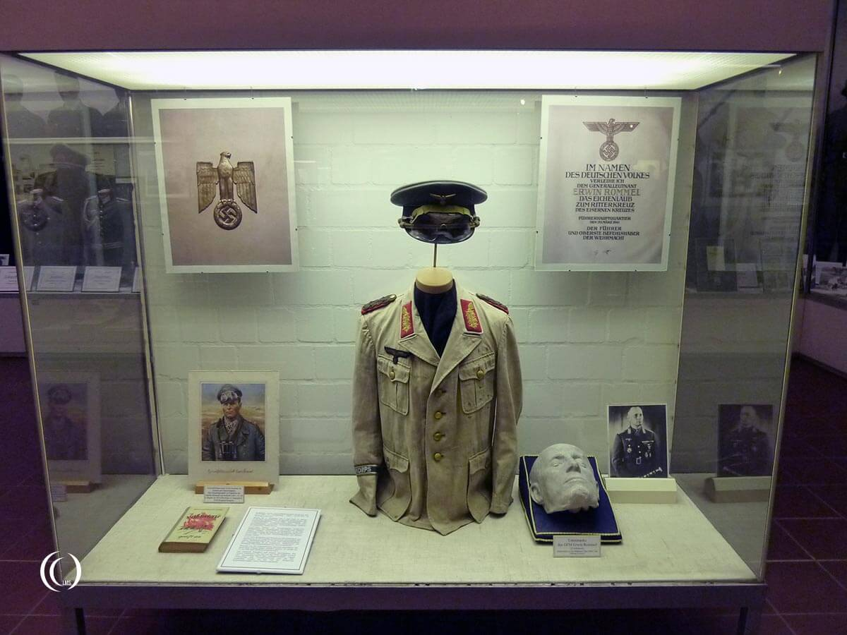 Erwin Rommels death mask and Africa Korps jacket are on display in the Tank Museum in Munster Germany