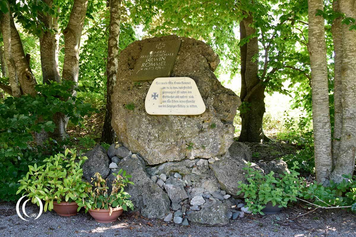 Erwin Rommel Suicide Spot Memorial Stone along the Helfensteinweg Blaustein Germany