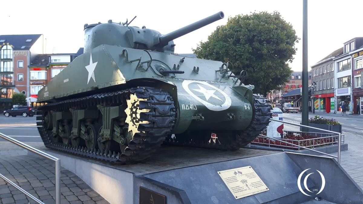 Memorial General Mc Auliffe and Sherman Tank- Bastogne, Belgium