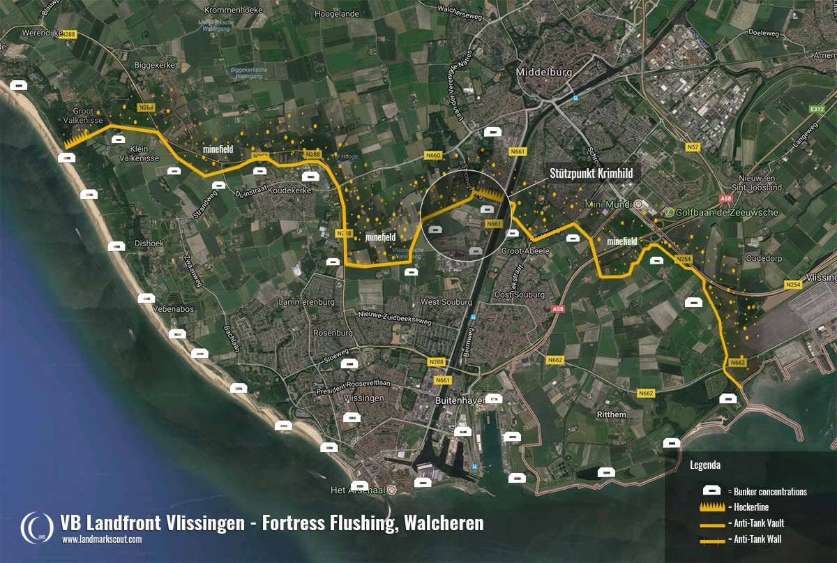 VB Landfront Vlissingen Flushing Map WW2