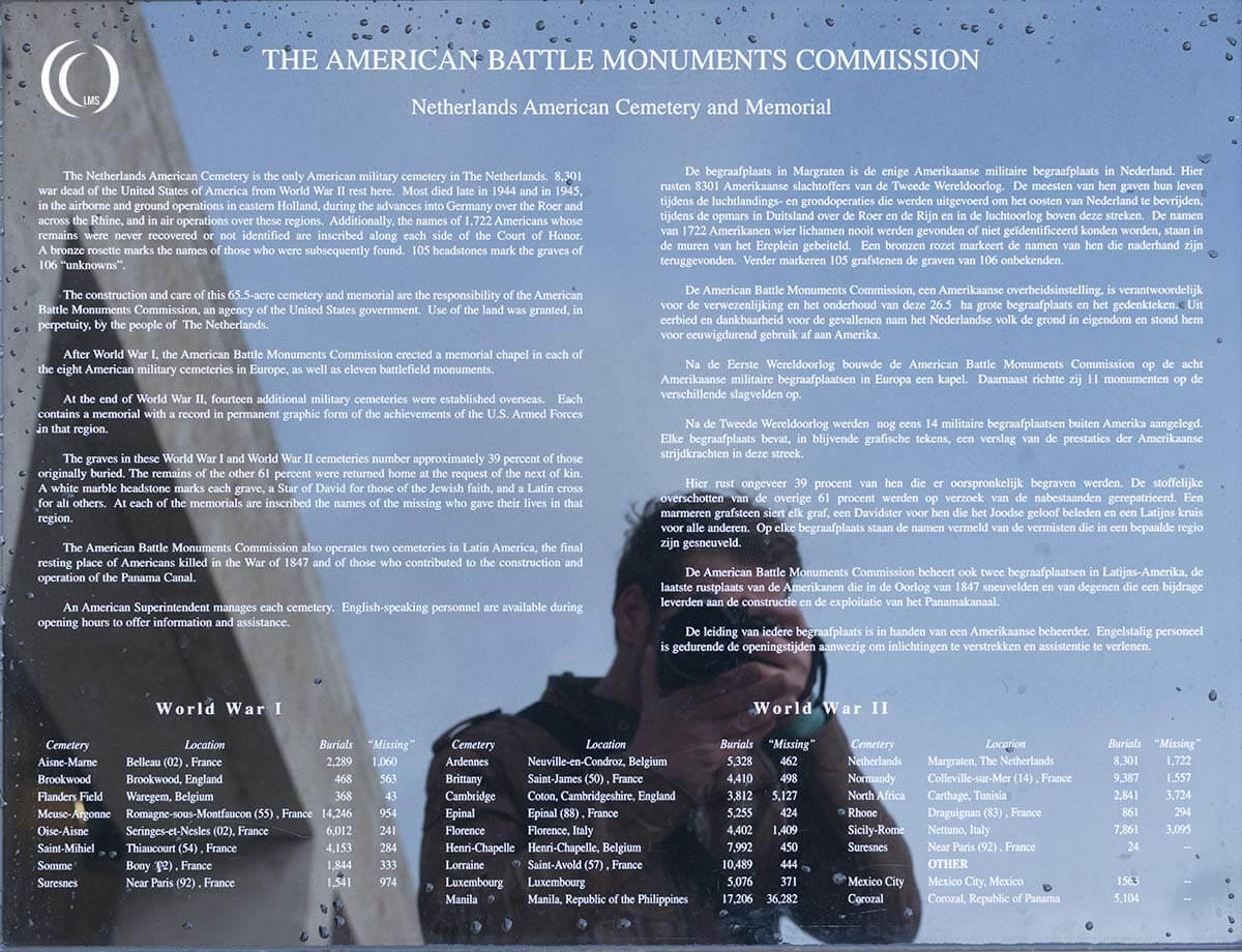 American Battle Monuments Commission sign at Margraten