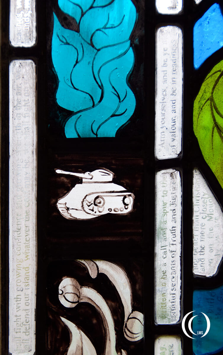 Detail of Churchill Window texts at Bladon