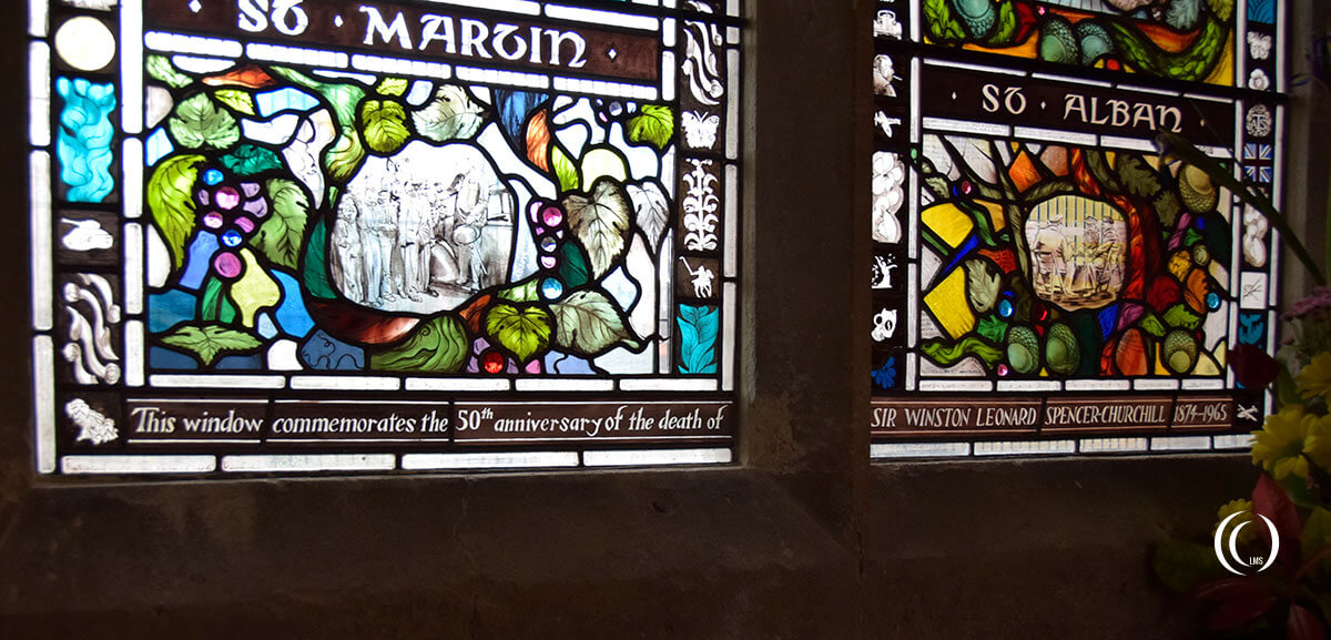 Detail of the Churchill window at the Parish Church of St Martins Bladon England