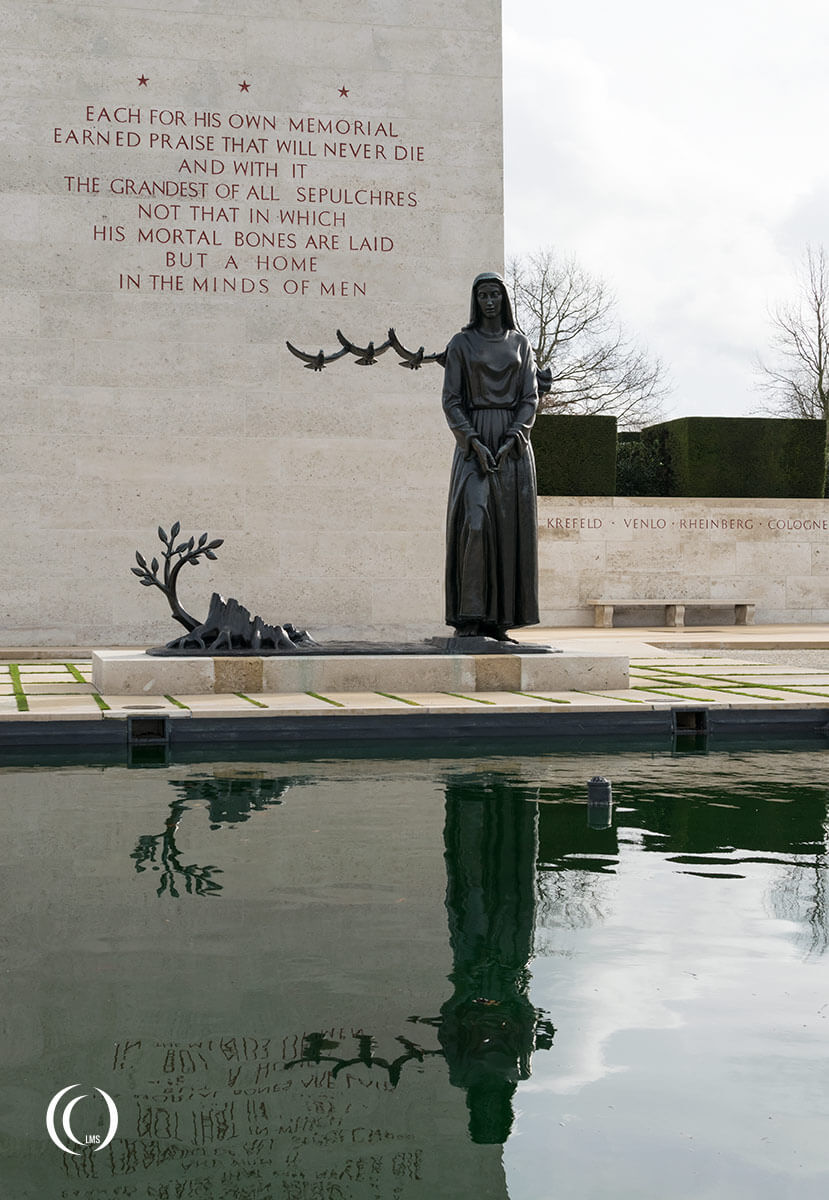 Memorial tower and statue of weeping mother at American war cemetery margraten holland