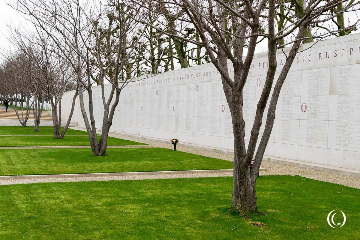 View of the Walls of the Missing at Netherlands American WW2 Cemetery Margraten