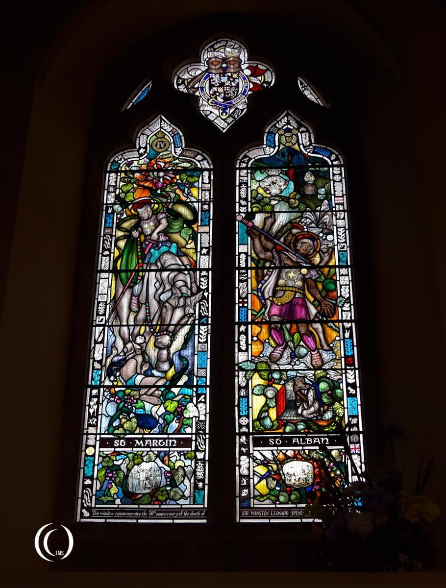 Full view of the Churchill window at the Parish Church of St Martins Bladon England