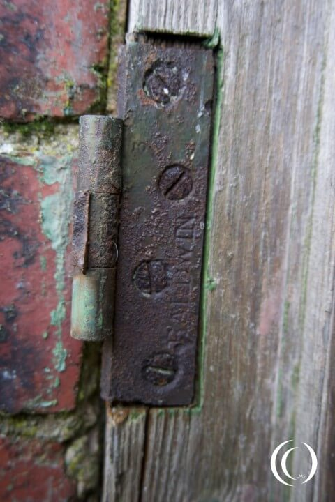 Hinge on an out building at the National Filling Factory No. 1 - Barnbow, Leeds